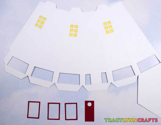 3D Paper Lighthouse - Set out window frames and door