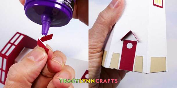 3D Paper Lighthouse - Apply a bead of glue along the edge of the awning and affix over the door