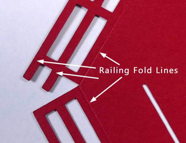 3D Paper Lighthouse - Railing fold lines