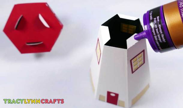3D Paper Lighthouse - Apply glue to the lower portion tabs