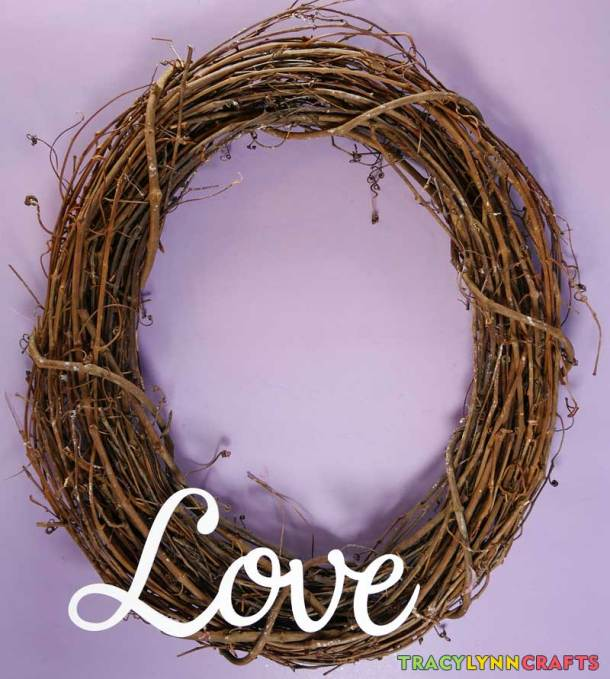 Loopy Burlap Flower Valentines Wreath - First attach the LOVE letters