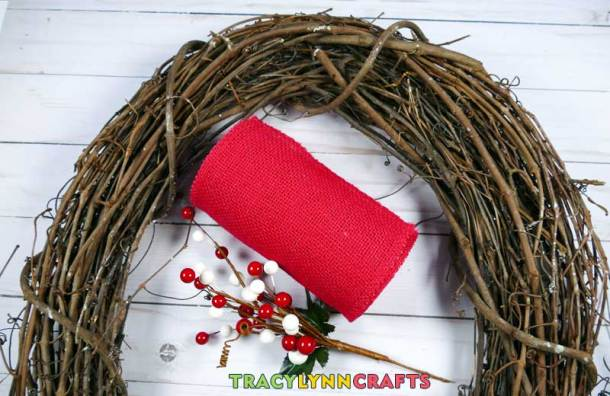 Loopy Burlap Flower Valentines Wreath - Materials
