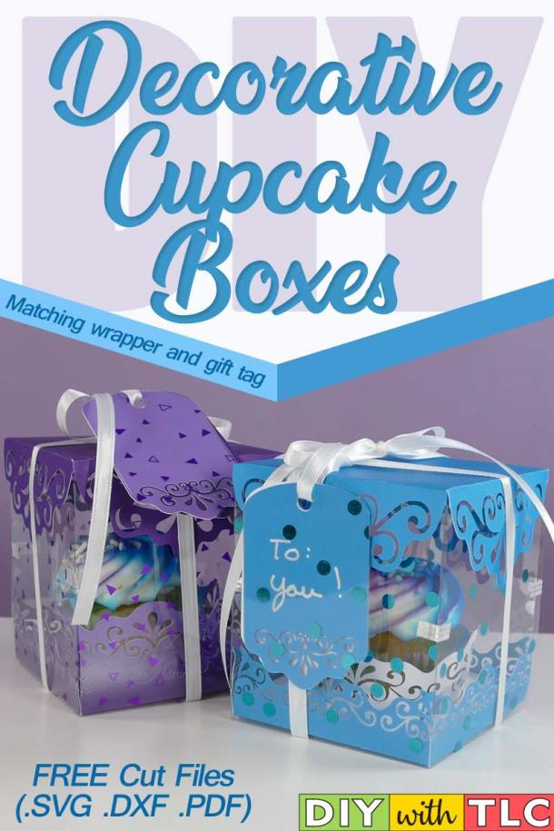 Learn to quickly make decorative cupcake boxes with matching cupcake wrappers and gift tags| #diy #cricut #cupcake_box #cupcake_boxes #cupcake_favor_box #cupcake_wrapper #paper_crafts
