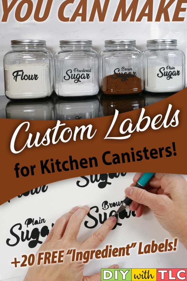 You can make your own kitchen canister labels with your Cricut to help organize and decorate your kitchen | #diy #organize #kitchen_canister_labels #cricut #kitchen_labels #canister_decals #kitchen_canister_decals #organize_kitchen