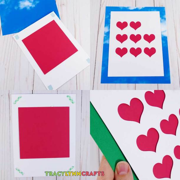Attach the hearts piece to the background piece as the next step of the shadow box heart art