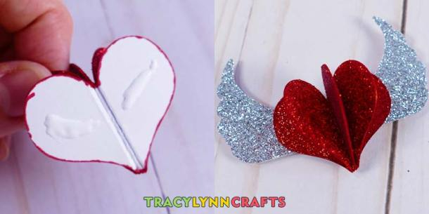 If you want to make a glitter heart for your shadow box heart art, glue the heart to the wings