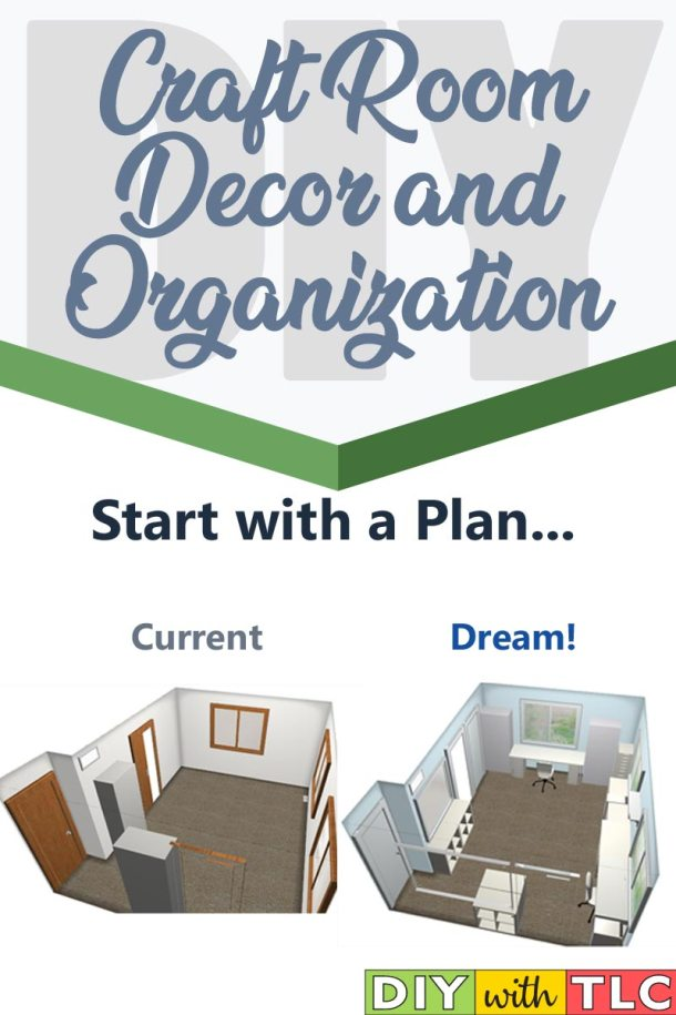 When you start your craft room organization, you need to start with a plan. See what I did to plan my craft room make over.