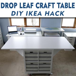 Make this drop leaf craft table on casters for your craft room