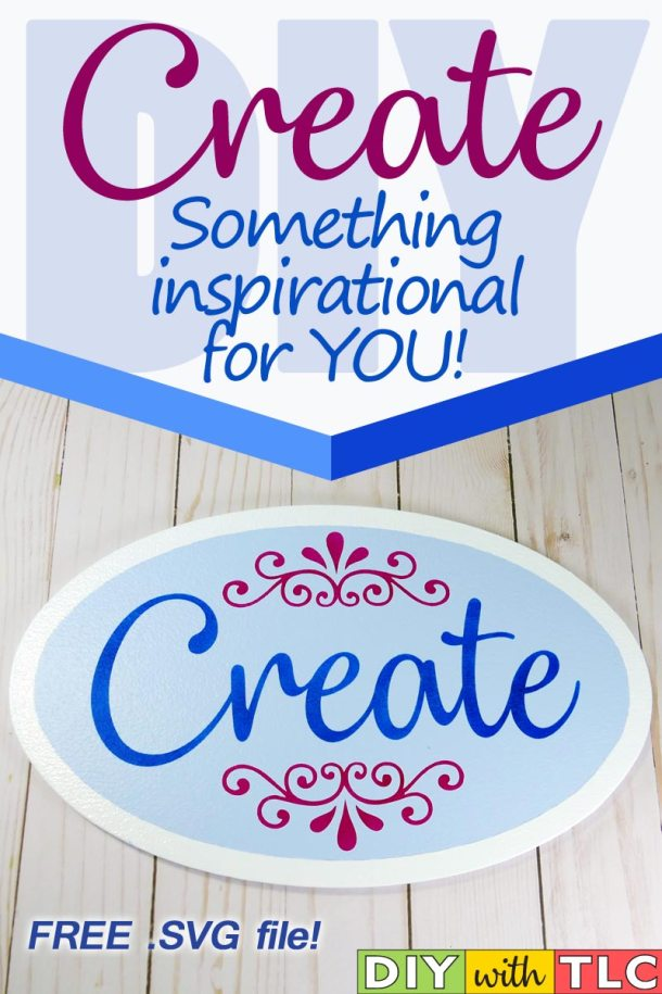 Decorate your crafting space with this inspirational sign that you can stencil - Cut your own stencil from the free design | #diy #stencil #create #sign #stenciling #cricut #cricut_stencil