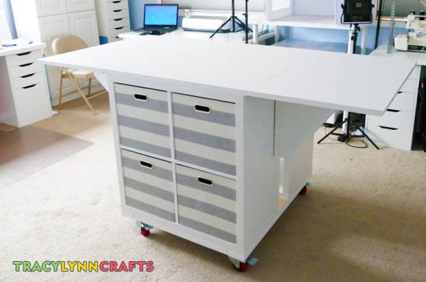 Use 13 x 13 fabric drawers for storage in the craft table