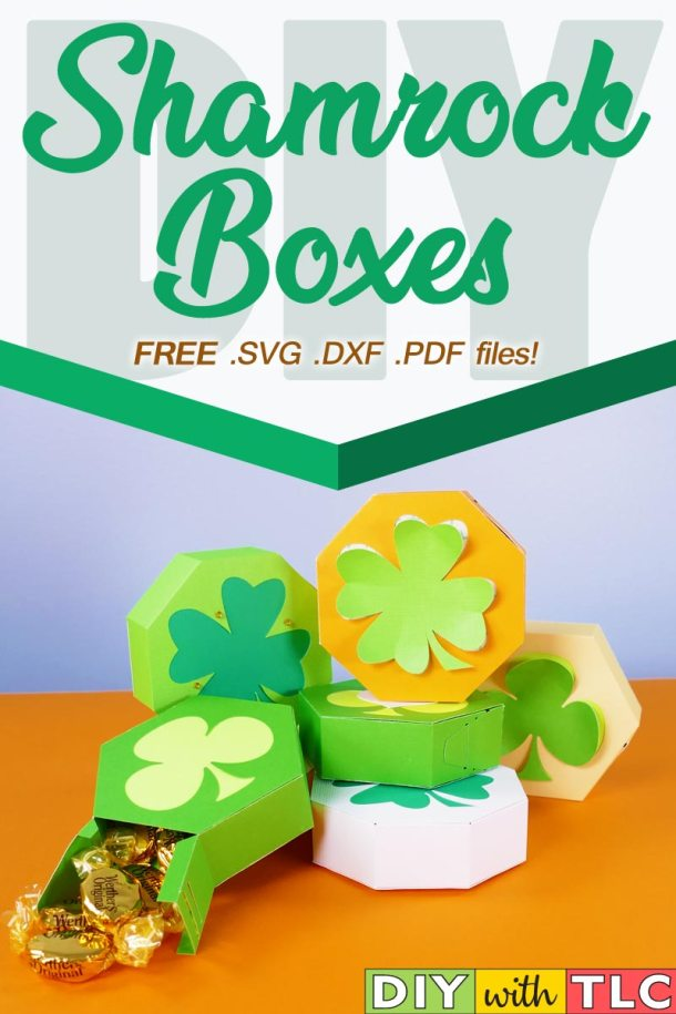 Learn to make these quick and easy paper shamrock boxes that you can cut on your Cricut, other craft machine, or by hand | #cricut #shamrock_boxes #clover_boxes #cricut_maker #cricut_explore #cricut_air #paper_boxes