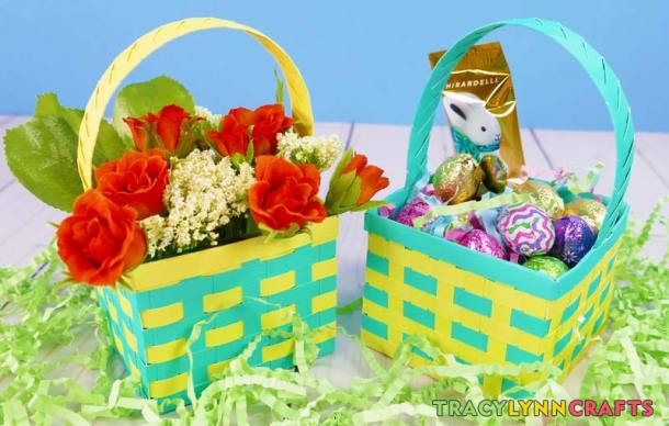 The finished springtime paper baskets can be filled with spring flowers or Easter treats
