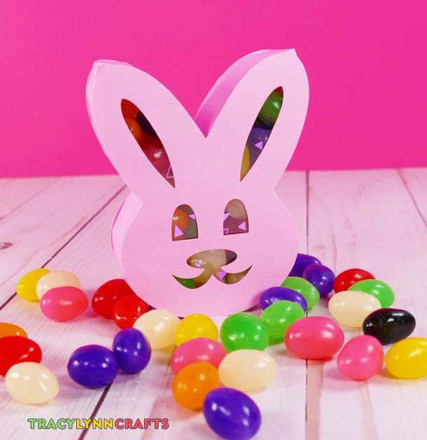Completed Easter bunny box filled with jelly beans