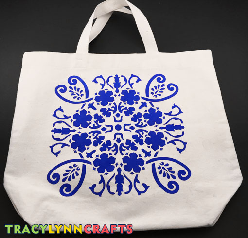 DIY Stenciled Tote Bag - The Stenciling is Complete