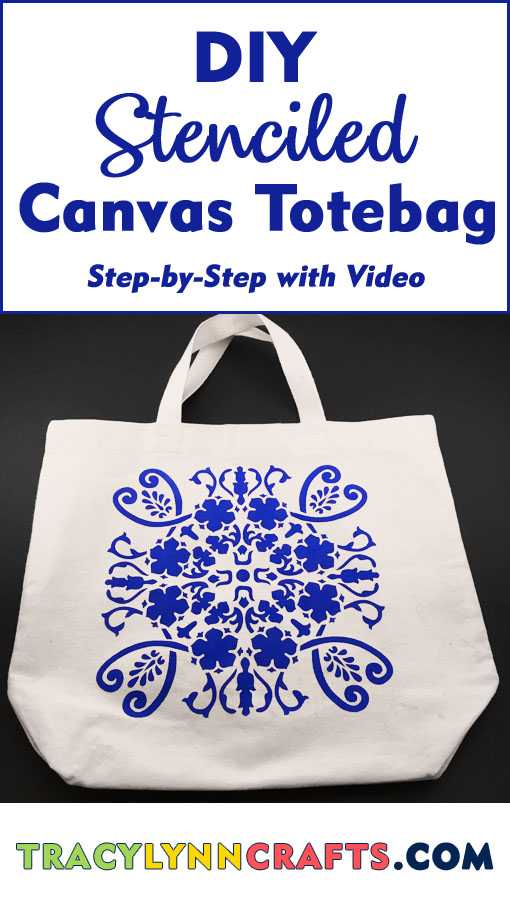 How to make a beautiful DIY Stenciled Tote Bag | easy step-by-step photo tutorial with video | #stenciling #diy #totebag