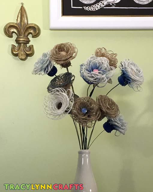Put your burlap flowers together into a bouquet