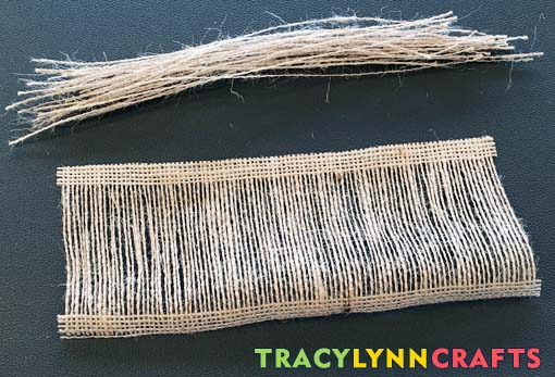 Remove all the burlap fibers except for a few on each side