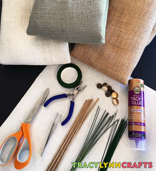 DIY Burlap Flowers - Materials and supplies to make your own fun burlap flowers
