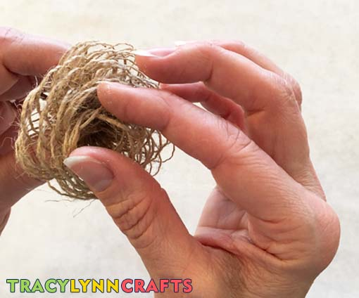 Open up the petal loops on the burlap flower