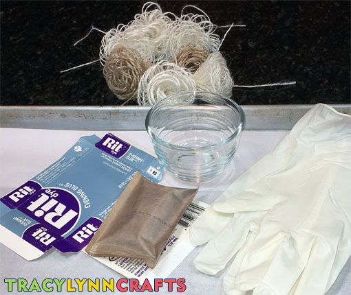 Supplies and tools to make ombre burlap flowers