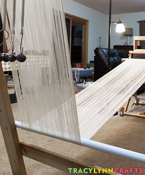 Another picture from a different angle showing the warp under the bottom rod and over the top rod