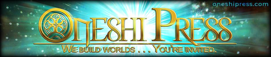 Oneshi Press: We build worlds, you're invited. Comsic radiation banner logo banner logo