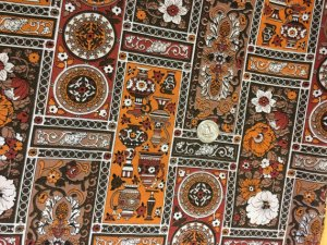 Vintage Bohemian Hippy 1970s Fabric 2.25 yards Brown Red Orange