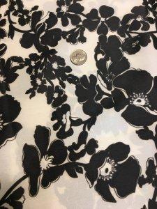 Vintage Georgette 1970s Large Floral Black and White