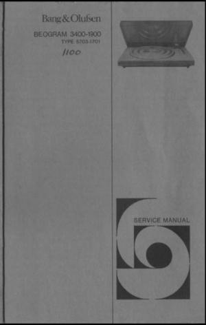 Bang & Olufsen Beogram 1900 , 3400 turntable Service