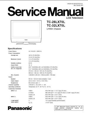 Panasonic TC26LX70L & 32LX70L Service Manual & Schematics