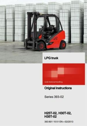 Linde LPG Forklift Truck HSeries Type 393: H25T02, H30T