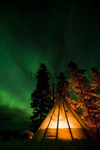 Illuminated Teepee Tipi Tepee Northern Polar Lights