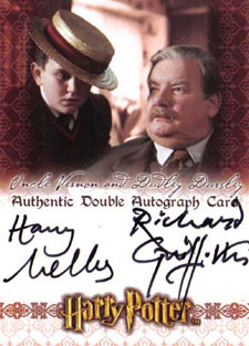 2007 Artbox World of Harry Potter Autographs Richard Griffiths and Harry Melling as Uncle Vernon and Dudley Dursley