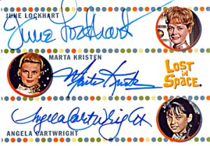 2005 Rittenhouse Complete Lost in Space Autographs June Lockhart as Maureen Robinson, Marta Kristen as Judy Robinson and Angela Cartwright as Penny Robinson