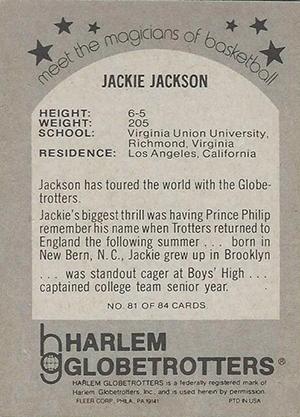 1971 Fleer Harlem Globetrotters 81 Back