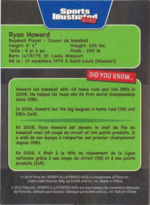 Subway Sports Illustrated Kids Ryan Howard (Back)