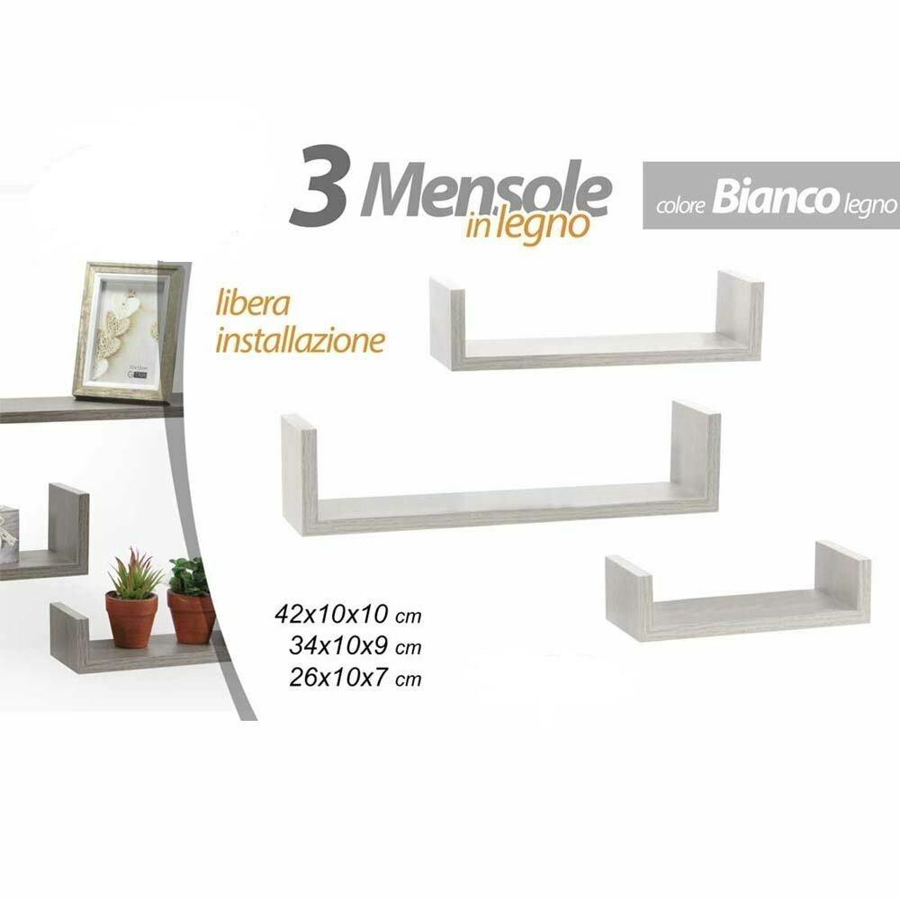 Perfette da installare in salotti, camerette, studi oppure corridoi, queste splendide. Set 3 Mensole Parete Moderne Design Bordi Mensola Scaffale Legno Bianc