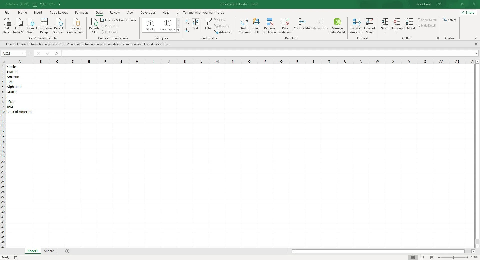 Get Live Stock And Etf Data In Excel 365