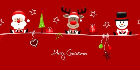 Santa, Rudolph & Snowman Symbols Red