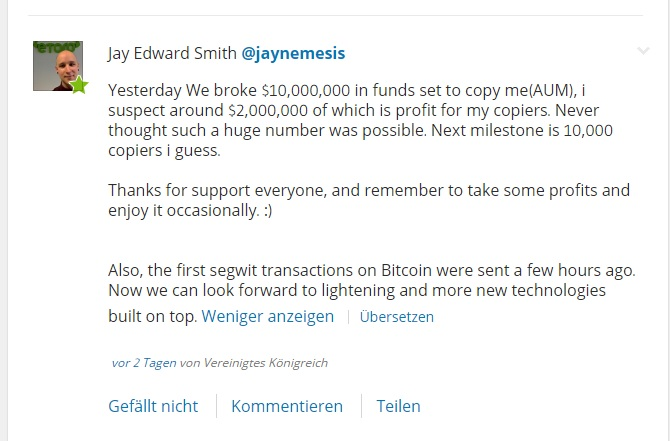 Social Trader mit Cryptocurrencies: Jay Edwards