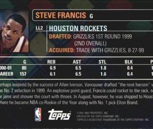2001 02 Topps Lottery Legends Ll2 Steve Francis Back