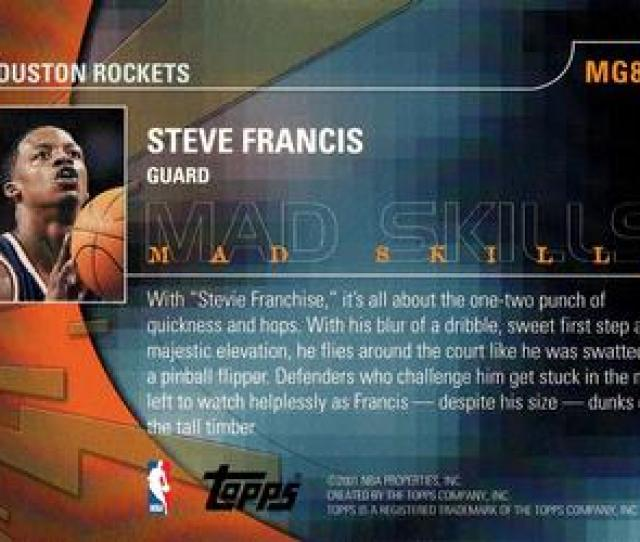 2001 02 Topps Mad Game Mg8 Steve Francis Back