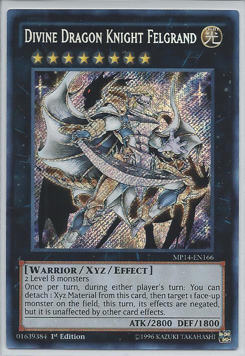 MP14-EN166 Divine Dragon Knight Felgrand Secret Rare 1st Edition YuGiOh Card