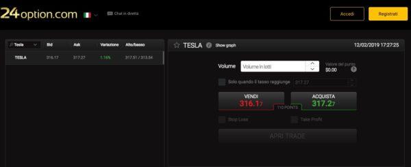 Comprare Azioni Tesla con 24Option