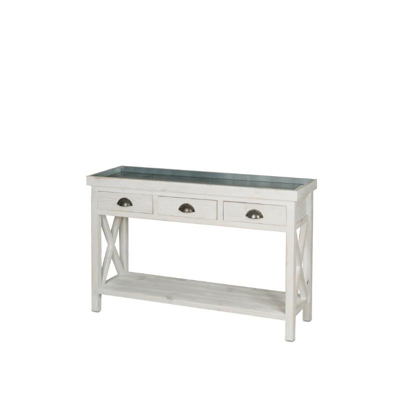 table console fleuriste avec plateau zinc bois massif tradis