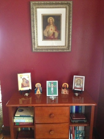 A picture of our prayer corner in its beginning stages.