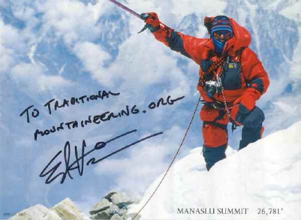 Ed Viesturs autographs a poster for TraditionalMountaineering