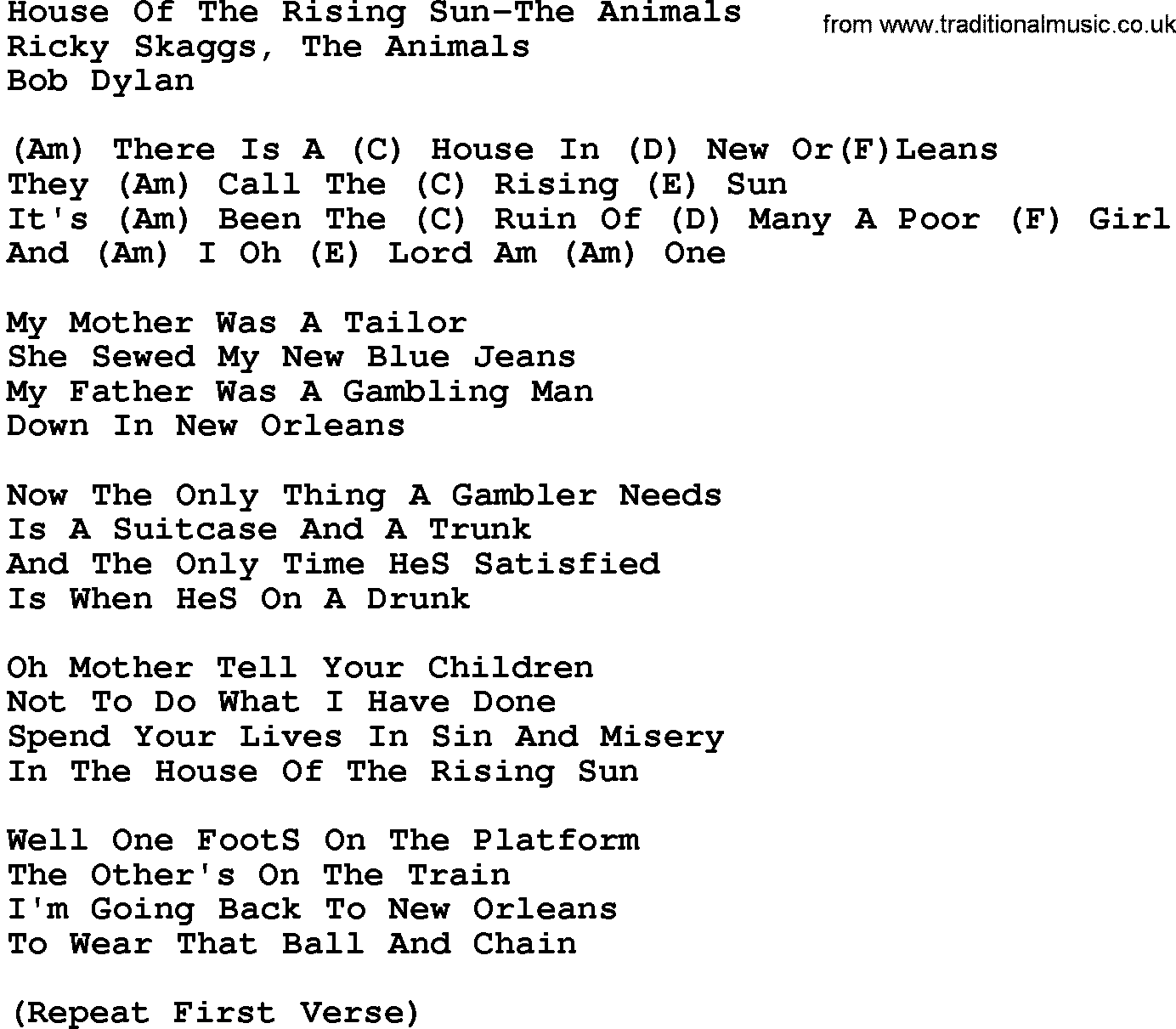 Country MusicHouse Of The Rising Sun The Animals Lyrics