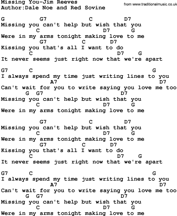 Country Music:Missing You-Jim Reeves Lyrics and Chords