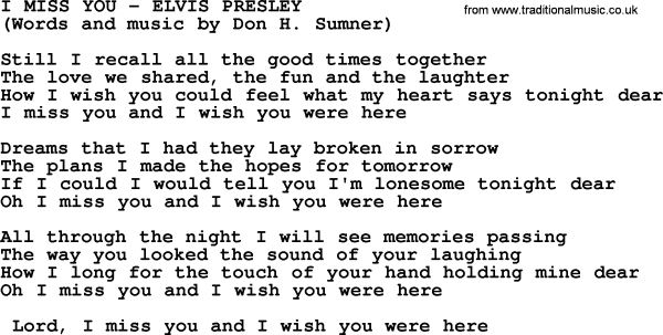 I Miss You by Elvis Presley - lyrics